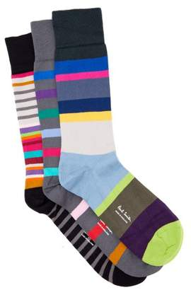 Paul Smith Pack Of Three Striped Socks - Mens - Multi