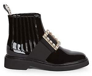 Roger Vivier Women's Viv Rangers Strass Buckle Patent Leather Chelsea Boots