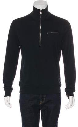 John Varvatos Leather-Trimmed Half-Zip Sweater