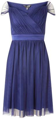 **Showcase Navy 'Zara' Bardot Prom Dress