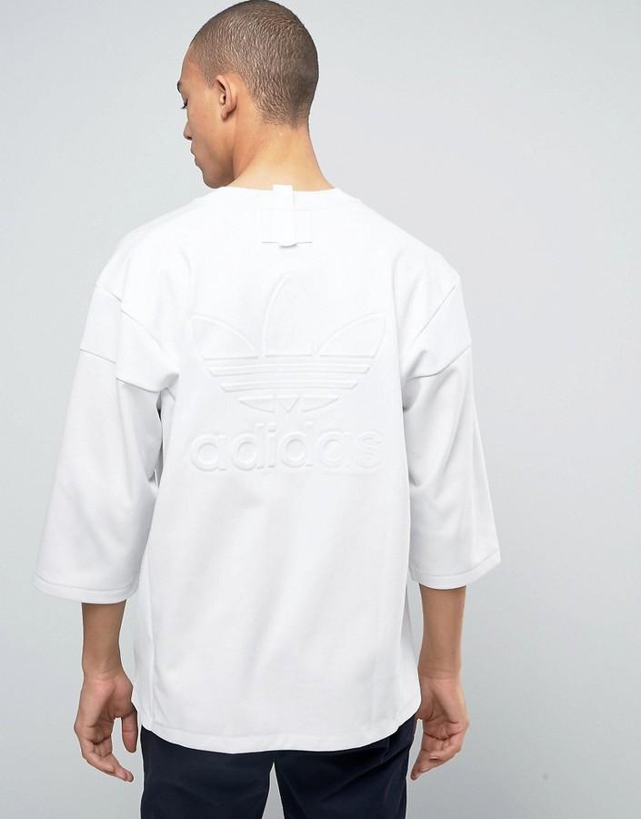 adidas Originals New York Pack 3/4 Sleeve T-Shirt In White BJ9992