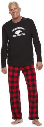 "Buffalo David Bitton Men's Jammies For Your Families Thanksgiving ""Team Food Coma"" Top & Checkered Microfleece Bottoms Pajama Set"