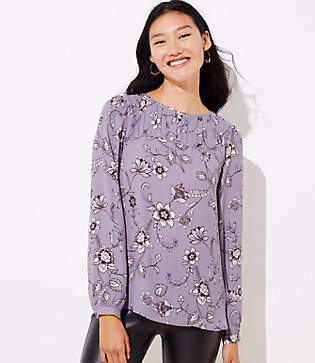 LOFT Lilac Garden Pleat Yoke Blouse