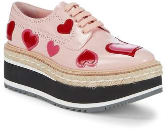 Prada Women's Heart Leather Oxford Flatform Espadrilles