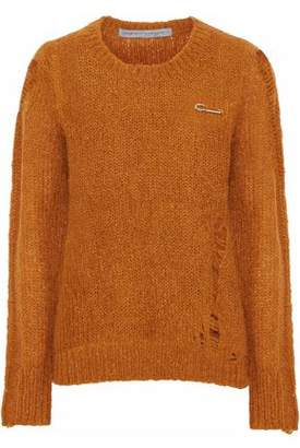 Raquel Allegra Fuzzy Punk Distressed Knitted Sweater