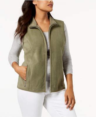 Karen Scott Petite Zeroproof Zipper Vest