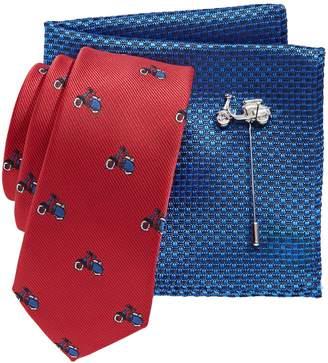 Lambretta 3-Piece Tie, Pocket Square Lapel Pin Set