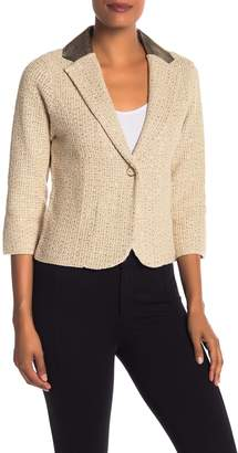 Elie Tahari Visna Leather Collar Sweater Blazer