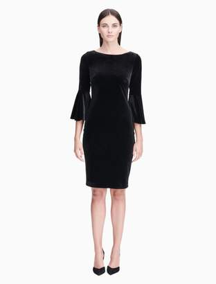 Calvin Klein velvet bell sleeve sheath dress