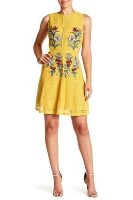 J.o.a. Embroidered Cutout Lace Mini Dress
