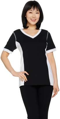 Denim & Co. Active Colorblock Short Sleeve V-neck Top