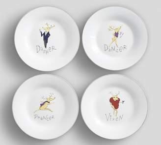 Pottery Barn Santa's Reindeer Dessert Plate, Set of 4 - Mixed