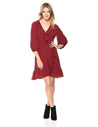 Adrianna Papell Women's Stretch Chiffon Faux Wrap Dress with Bishop Sleeves