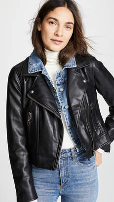 Blank Double Layered Moto & Denim Jacket