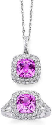 JCPenney FINE JEWELRY Lab-Created Pink & White Sapphire Double Halo Ring & Pendant Necklace Boxed Set