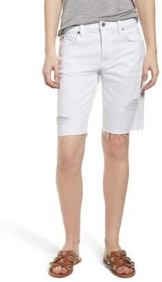 7 For All Mankind Distressed High Waist Straight Leg Bermuda Shorts