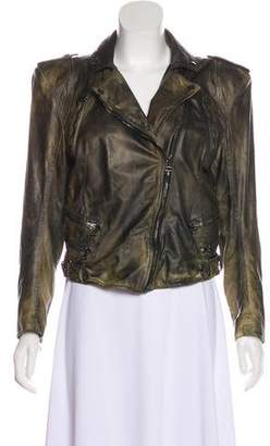Balmain Distressed Leather Jacket