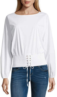 Hollywould Long Sleeve Boat Neck Woven Blouse-Juniors