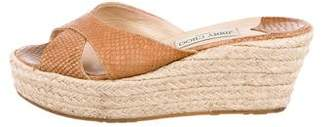 Jimmy Choo Embossed Espadrille Wedges