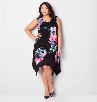 Avenue Watercolor Flower Asymmetric A-Line Dress
