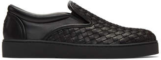 Bottega Veneta Black Classic Intrecciato Slip-On Sneakers