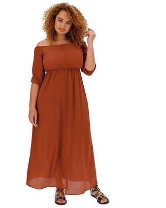 Fashion World Paprika Bubble Sleeve Bardot Dress