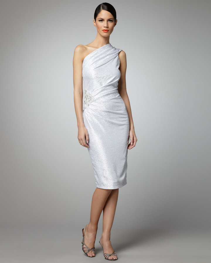 David Meister One-Shoulder Metallic Dress