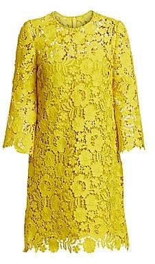 Lela Rose Women's Flutter Sleeve Lace Shift Dress