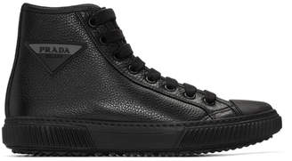 Prada Black Triangle Logo High-Top Sneakers