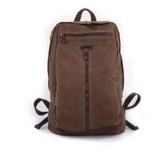 EAZO - Zip Front Waxed Canvas Backpack in Brown