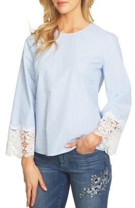 Women's Cece Lace Cuff Clip Dot Blouse $79 thestylecure.com
