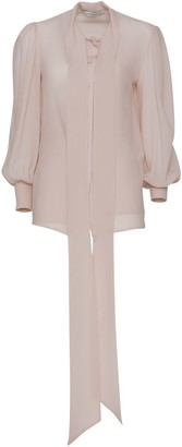 Givenchy Blouse In Silk With Ascot Tie In Blush