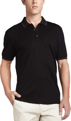 Salvatore Ferragamo Three-Button Polo, Black