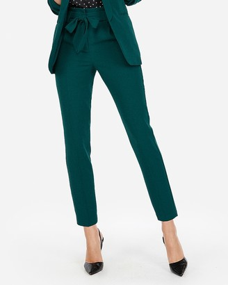 Express Petite High Waisted Sash Waist Straight Leg Ankle Pant