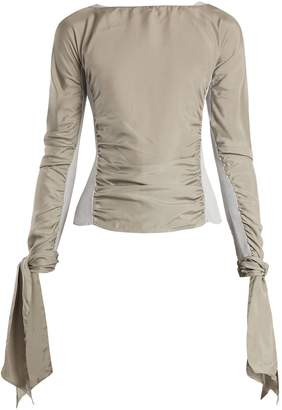 Lemaire Contrast-panel ruched crepe de Chine top