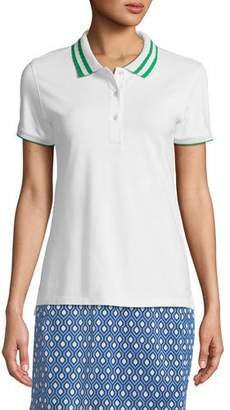 Tory Sport Pleated-Collar Short-Sleeve Polo Top