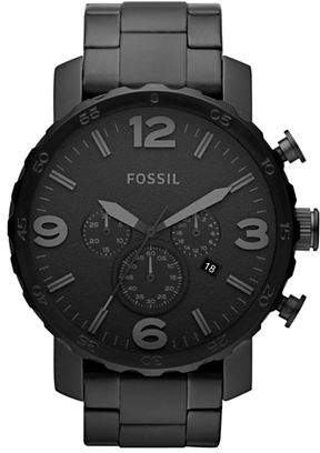 Fossil Nate Chronograph Stainless Steel Watch - Black