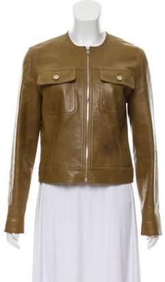 Celine Leather Zip-Up Jacket