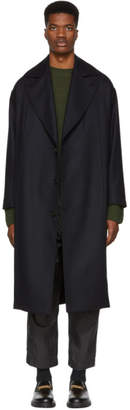 Studio Nicholson Navy Wool Mind Overcoat