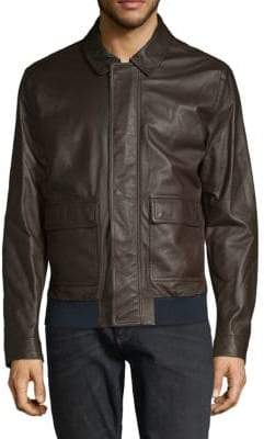 Paul & Shark Spread Collar Leather Jacket