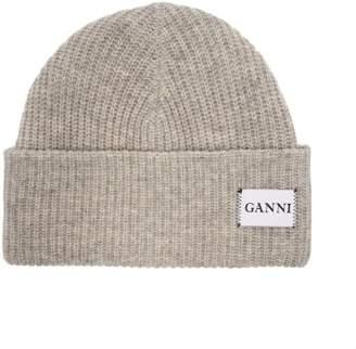 Ganni Hatley Wool Blend Beanie Hat - Womens - Grey