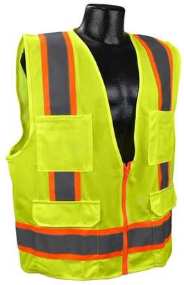 US2LN16 Class 2 Solid Surveyor Safety Vest - Yellow/Lime - Medium, Solid Polyester Material By Full Source