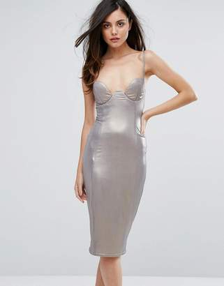 Rare London High Shine Plunge Pencil Dress