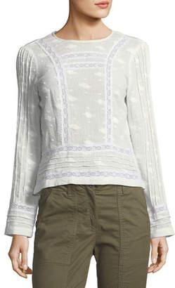 Veronica Beard Carmen Crewneck Button-Back Cotton Blouse