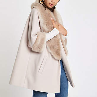 River Island Cream faux fur trim swing coat