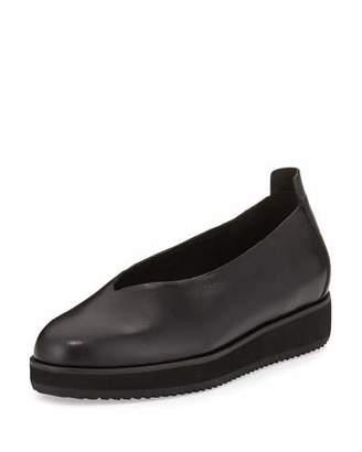 Eileen Fisher Canoe Leather Slip-On Flat, Black $175 thestylecure.com