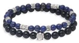 Lapis Two-Piece Onyx & Skull Beaded Bracelet Set