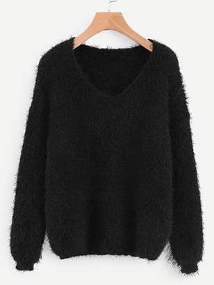 Shein V-neck Solid Fuzzy Jumper