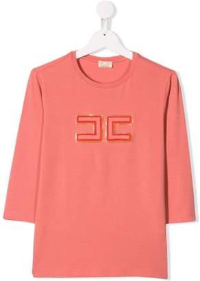 6048bfb0742f Elisabetta Franchi La Mia Bambina Teen logo embroidered top