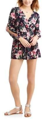 Paper Tee Juniors' Long Sleeve Floral Romper
